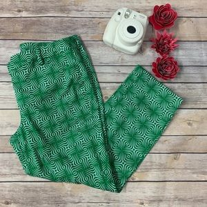 New York & Company Ankle Pants Size 6 Green White